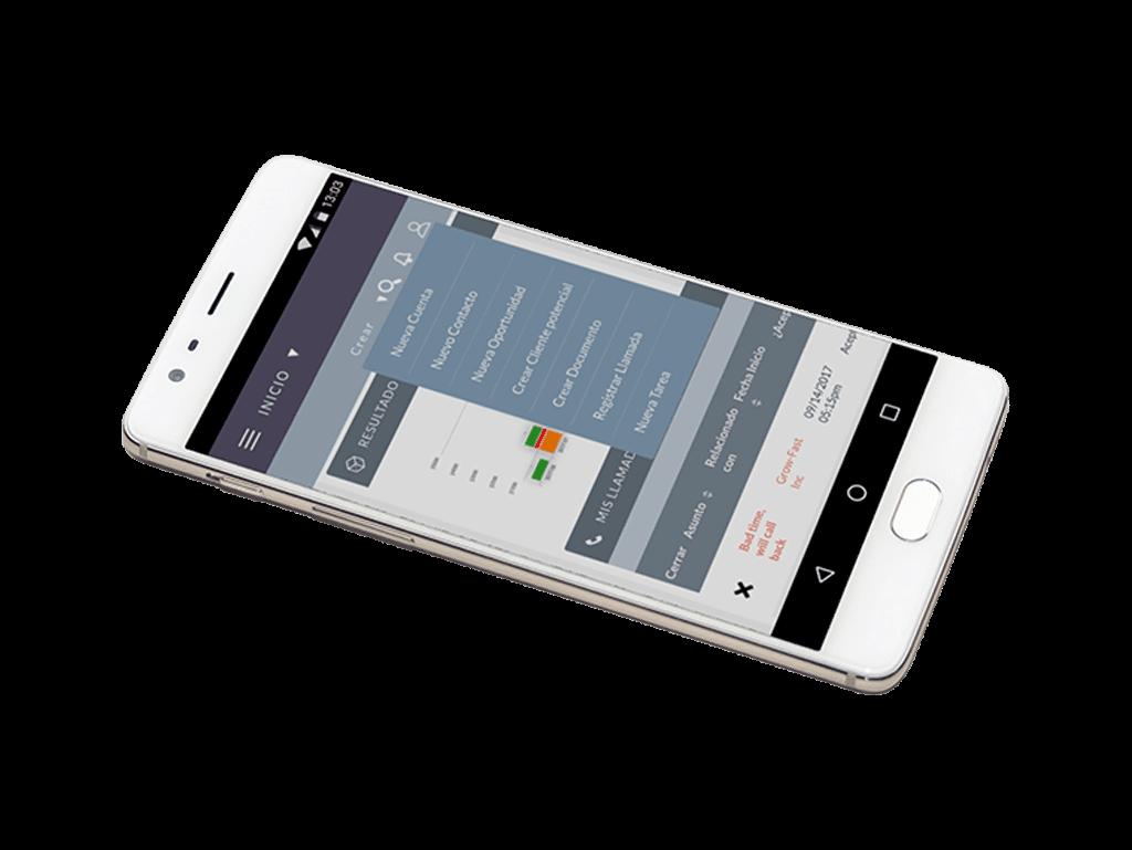 Imagen de un móvil con el Home abierto de SuiteCRM